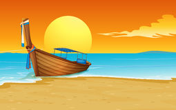 Boat on beach. Illustration of a thai boat on the sand Royalty Free Stock Image