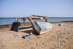 Boat on the beach. Old fisherman boat at the beach. Panorama Royalty Free Stock Photography