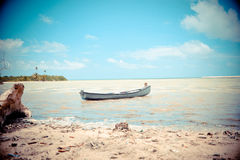 Boat on beach. A boat on a tropical beach Royalty Free Stock Image
