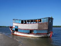Boat in the beach. Boat of people transportation in the beach - Brazil Royalty Free Stock Image