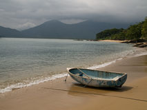 Boat on Beach. Small boat on beach, Picinguaba, Brazil Royalty Free Stock Photography