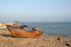 Boat on the beach. One boat on the beach at nyatrang vietnam Royalty Free Stock Photos