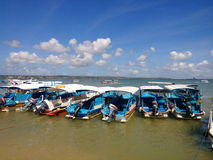 Boat on the beach at benoa bali royalty free stock photography