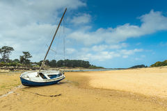 Boat on  Beach in Brittany Royalty Free Stock Photos