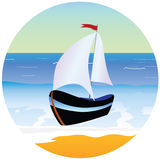 Boat and beach cartoon vector illustration Stock Images