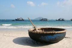 Boat on beach, Con Dao Royalty Free Stock Images