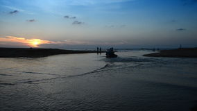 Boat at Beach in evening. The sand Beach in evening and sky stock video footage