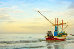 Boat at the beach hua hin, thailand Royalty Free Stock Images