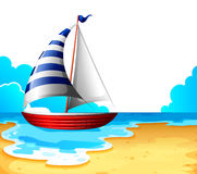 A boat at the beach. Illustration of a boat at the beach on a white background Royalty Free Stock Images