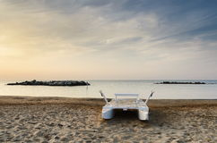 Boat on the beach in italy Stock Image