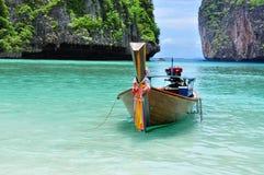 Boat on the beach at Koh phi phi island Phuket, Thailand. Koh Phi phi island, Maya Bay on the beach in Phuket, Thailand. Andaman sea. Great location royalty free stock image