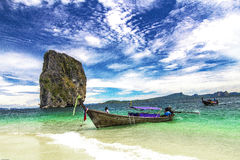 Boat on beach in Krabi province Thailand Royalty Free Stock Photo