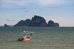 Boat on the beach at krabi, Thailand Royalty Free Stock Photos