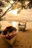 Boat on the beach. Landscape of boats in the sea Stock Image