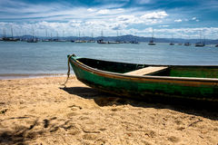 Boat on the beach. Landscape of boats in the sea Stock Photo
