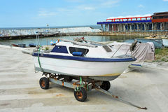 Boat at beach lifeguard station. Motorboat at beach lifeguard station, Odessa, Ukraine Royalty Free Stock Photos