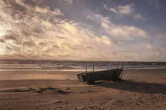 Boat in beach stock images