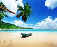 Boat on beach Mahe island Royalty Free Stock Photography