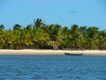 Boat on the beach of Mangue Seco, Bahia, Brazil. Fisherman boat on the beach of Mangue Seco, Bahia, Brazil royalty free stock photography
