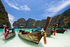Boat beach Maya Thailnad stock photography