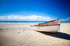 Boat on an a beach in Mozambique Stock Photography