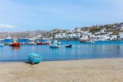 Boat on Beach in Mykonos Island Greece Stock Photo