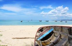 Boat on the beach at Nai yang beach Royalty Free Stock Photo