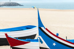 Boat on the beach, Nazare (Portugal) Royalty Free Stock Image