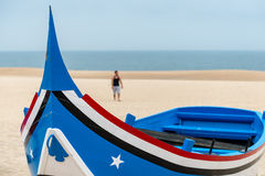 Boat on the beach, Nazare (Portugal) Stock Images