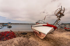 Boat on Beach Near Troy in Turkey Royalty Free Stock Image