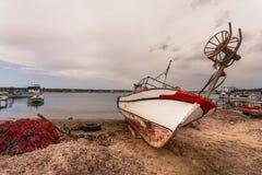 Boat on Beach Near Troy in Turkey Royalty Free Stock Image