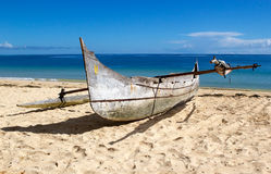 Boat on the beach, Nosy Be, Madagascar Royalty Free Stock Photos