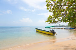 Boat at the beach, Panama Stock Photo