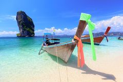 Poda Island Thailand. Boat at the beach, Poda Island Krabi Thailand Stock Images