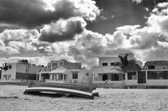 Boat on beach, Progreso, Yucatan, Mexico Stock Image