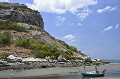 Boat on the beach and Rock mountain. Huahin,travel city of Thailand Stock Photos