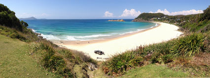 Boat Beach Seal Rocks Panorama NSW Australia Stock Photography