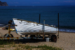 Boat on a beach in Sicily Stock Photos