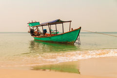 Boat on the beach. In Sihanoukville, Cambodia Stock Image