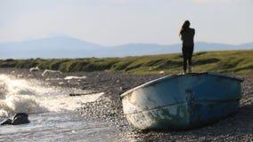 Boat. On the beach of Son-Kol lake, Naryn region, Kyrgyzstan Stock Image