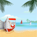 Boat on the beach. Square background of tropical sandy beach with boats. Blue sky, ocean, sand and palm trees. Vocation web banner. Stock vector illustration Stock Image