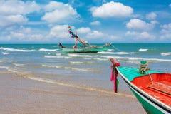 Boat at beach summer season Stock Images