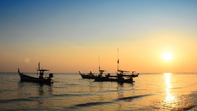Boat at the beach and sunset. Thailand stock video footage