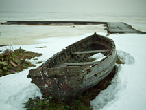 Boat on the beach. And surrounded by snow Stock Photo