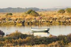 Boat in the beach of tarifa, Cádiz Royalty Free Stock Photography