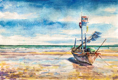 Boat. On the beach. Thailand.Picture created with watercolors vector illustration