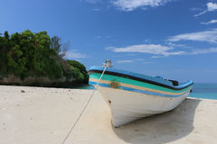 Boat at the beach. White boat on the beach of Prison Island near Dar es Salaam in Tanzania Stock Images