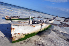 Boat On the beach of zanzibar Stock Images