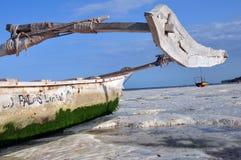 Boat On the beach of zanzibar Royalty Free Stock Photos