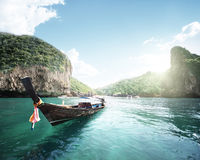Boat on the beautiful sea, Phi Phi island Royalty Free Stock Images